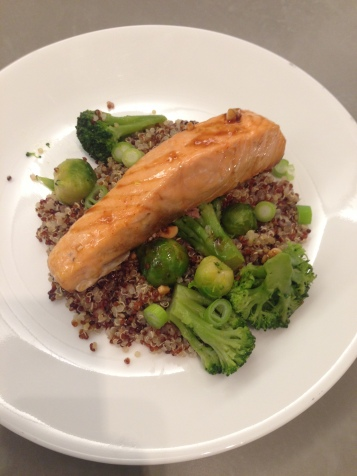 """Sriracha Soy Salmon: """"We made this Sriracha soy salmon dish last night and it was delicious! The Sriracha added a welcome kick and balanced nicely with the soy sauce and honey. The best thing about this dish is that it is simple, quick, healthy and super flavorful. Perfect for a weeknight. We paired it with quinoa, Brussels sprouts and broccoli. This will definitely be added to our repertoire. Another winning recipe from Fieldhouse Kitchen!"""" -Abby L., Miami"""