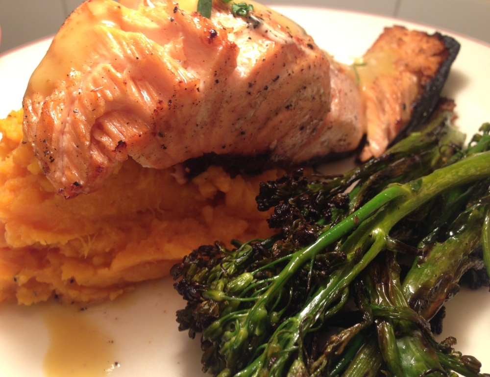 Honey Dijon Glazed Salmon Over Mashed Sweet Potatoes with Charred Broccolini