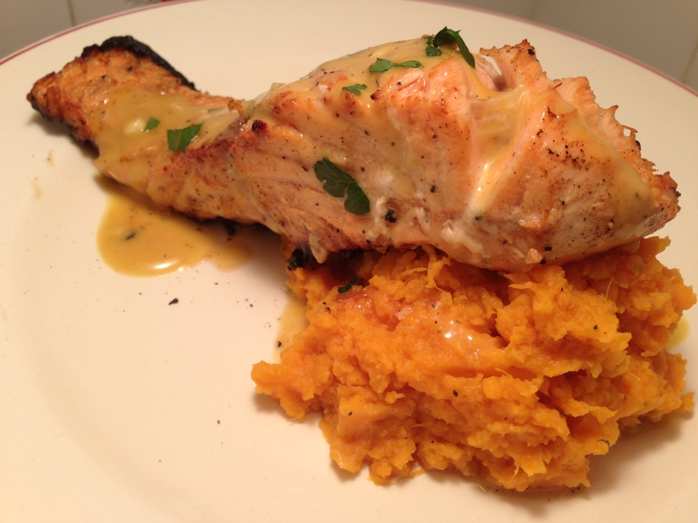 Honey Dijon Glazed Salmon Over Mashed Sweet Potatoes