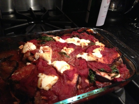 "Eggplant Vegetable Lasagna: ""Delicious! I added a bit of Shiraz when I cooked the spinach and mushrooms for extra punch :) Enjoyed with friends and the rest of the Shiraz. Would definitely make again."" -Jameson, Washington, D.C."