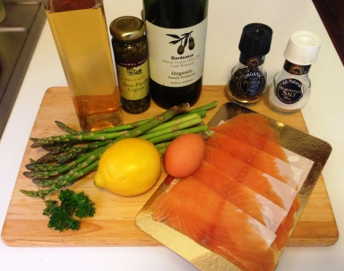 Salmon Asparagus and Poached Egg Ingredients