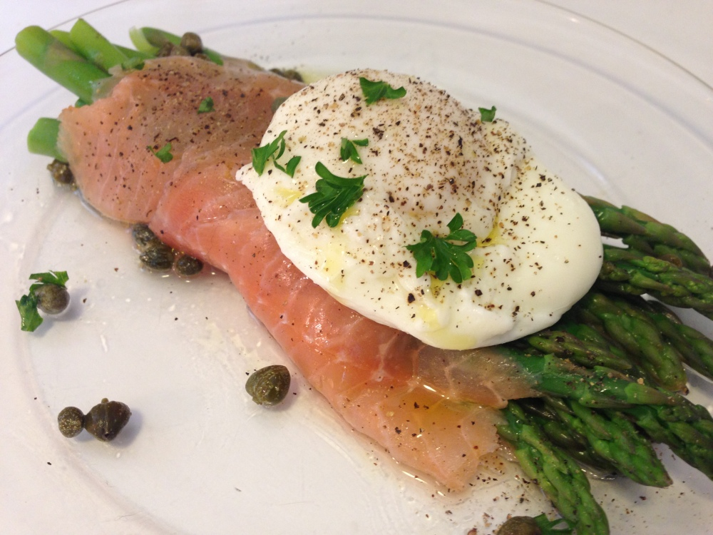 Salmon Asparagus and Poached Egg