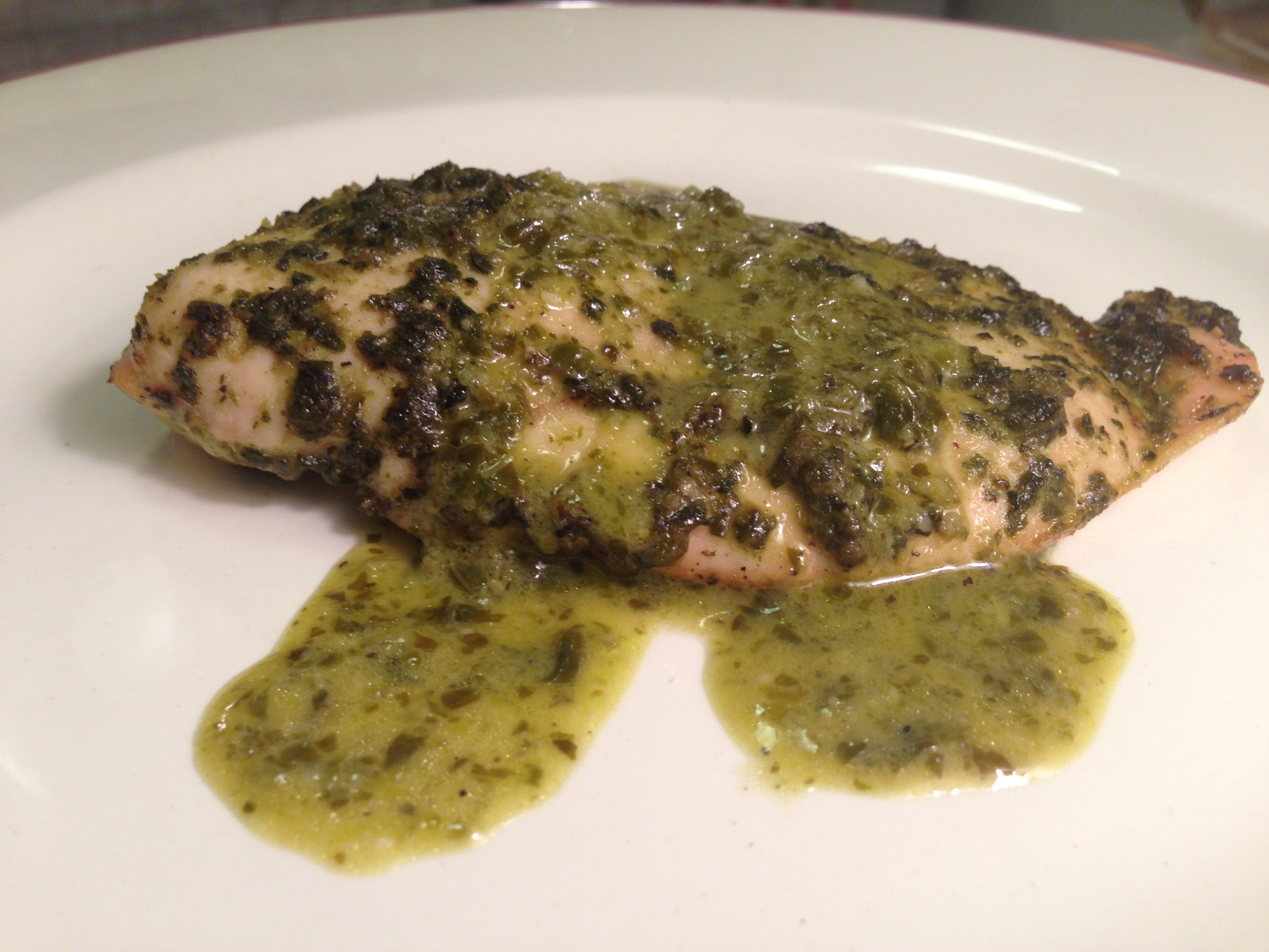 Baked Chicken Breasts with Spinach Pesto and
