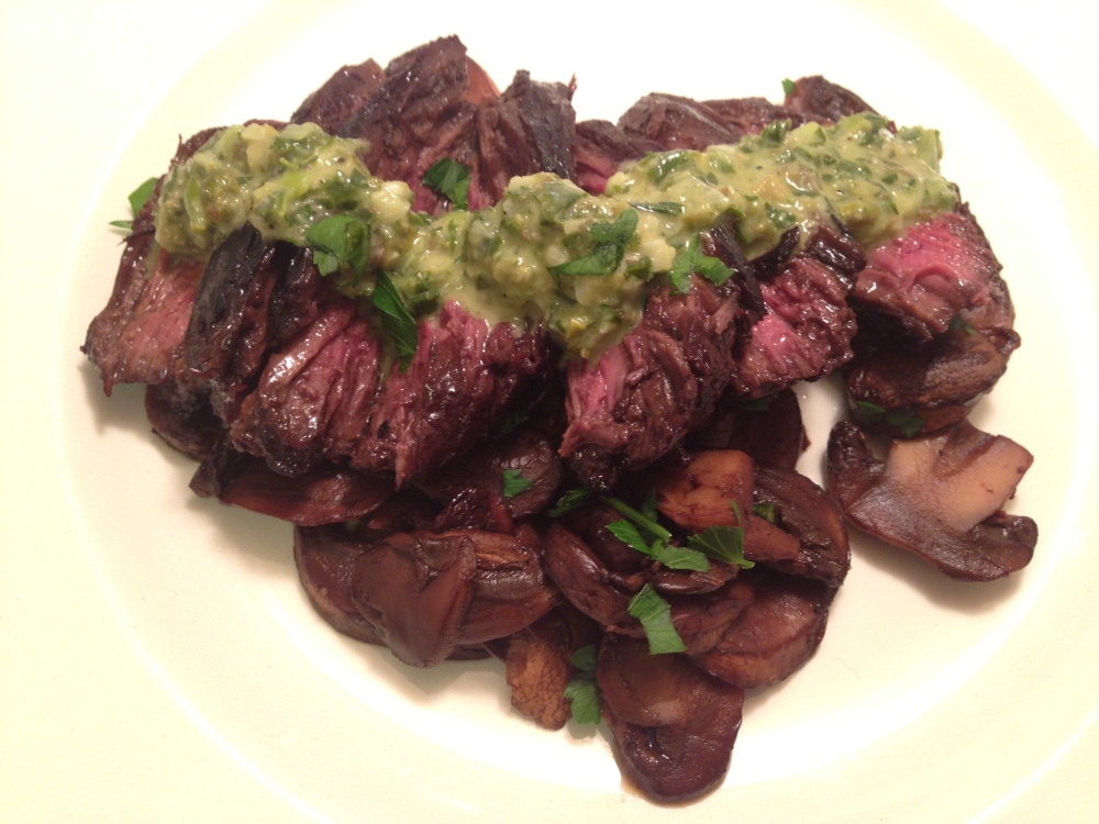 Balsamic Steak and Mushrooms with Sauce Verte