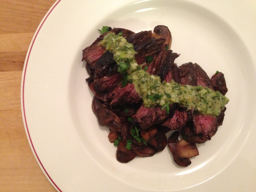 Balsamic Steak and Mushrooms with Sauce Verts