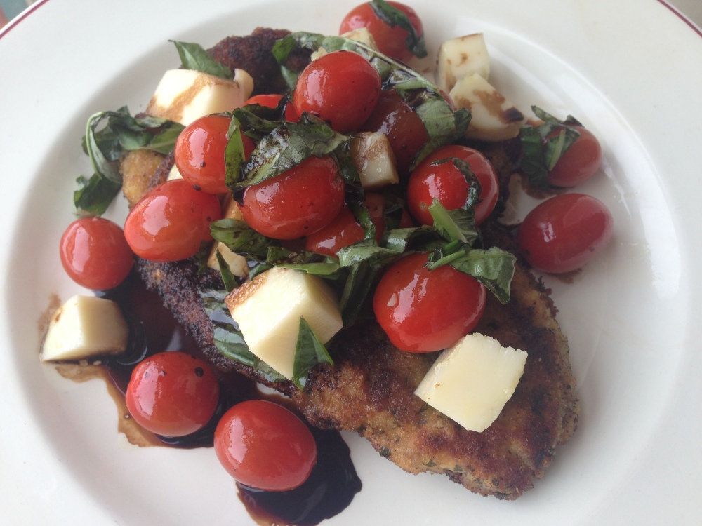 Caprese Chicken Milanese Close Up