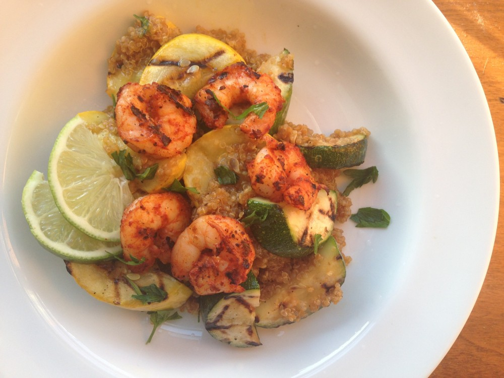 Lime Quinoa with Grilled Shrimp and Summer Squash