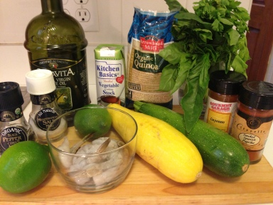 Lime Quinoa with Grilled Shrimp and Summer Squash Ingredients