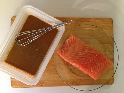Placing the Salmon in the Marinade