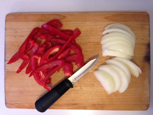 Chopping the Peppers and Onions