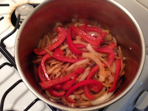 Cooked Peppers and Onions