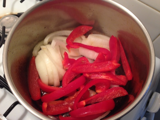 Cooking the Peppers and Onions