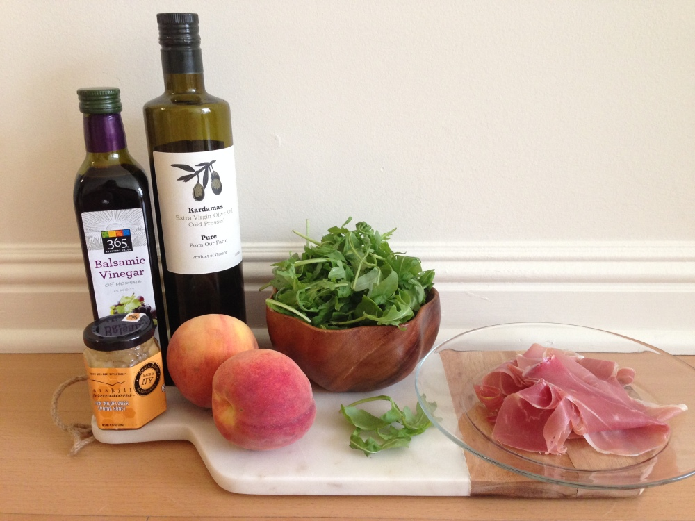 peach and prosciutto ingredients